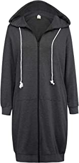 Women's Casual Pockets Zip up Hoodies Tunic Sweatshirt Long Hoodie Jacket