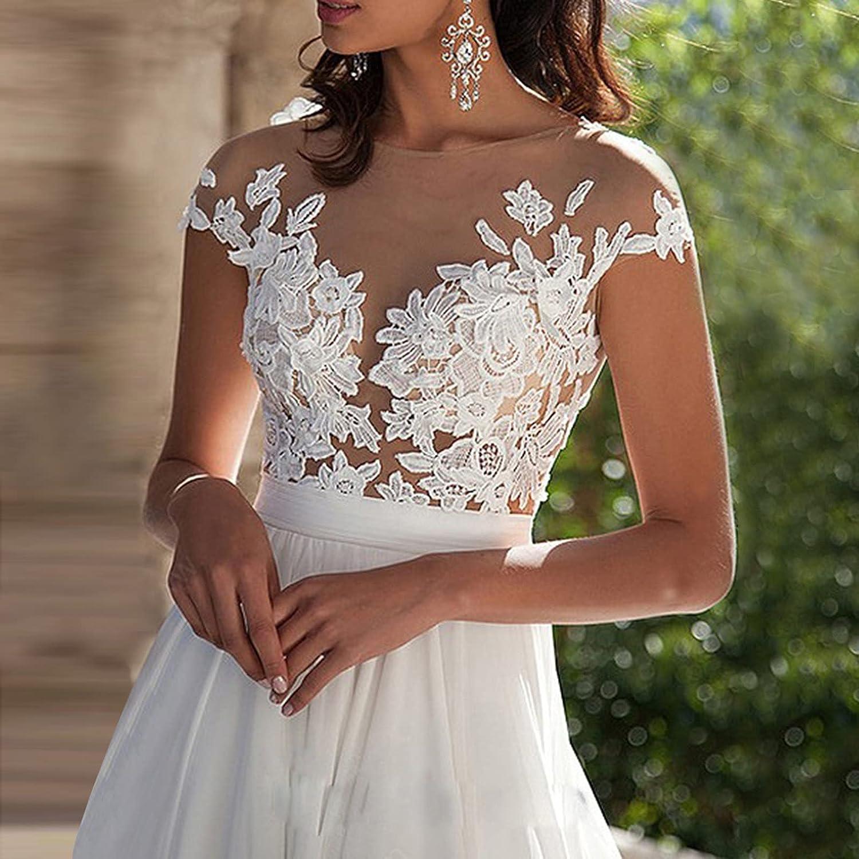 SSZZoo Women's Wedding Dress Lace V-Neck Evening Dress Bridal Gown Beach Wedding