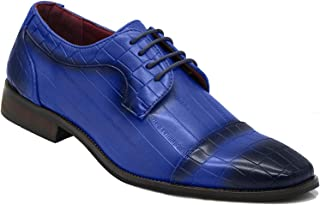 Enzo Romeo GV2 Men Alligator Print Cap Toe Fashion Lace Up Dress Oxfords Shoes