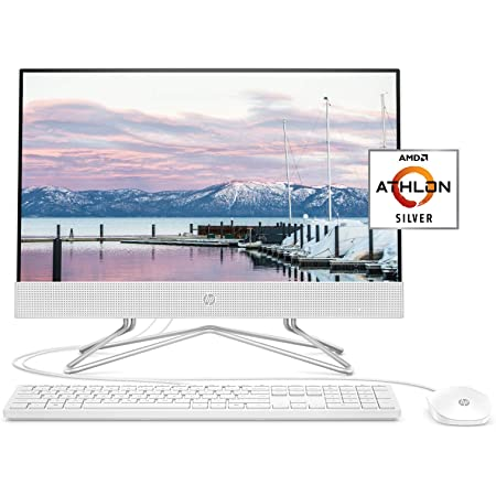 HP 22-inch All-in-One Desktop Computer, AMD Athlon Silver 3050U Processor, 4 GB RAM, 256 GB SSD, Windows 10 Home (22-dd0010, White), Snow White