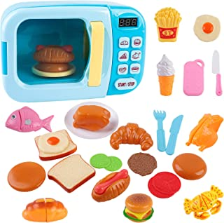 Outgeek Microwave Toys Kitchen Play Set,Kids Pretend Play Electronic Oven with Play Food,Cutting Boards and Plates Toy Set...