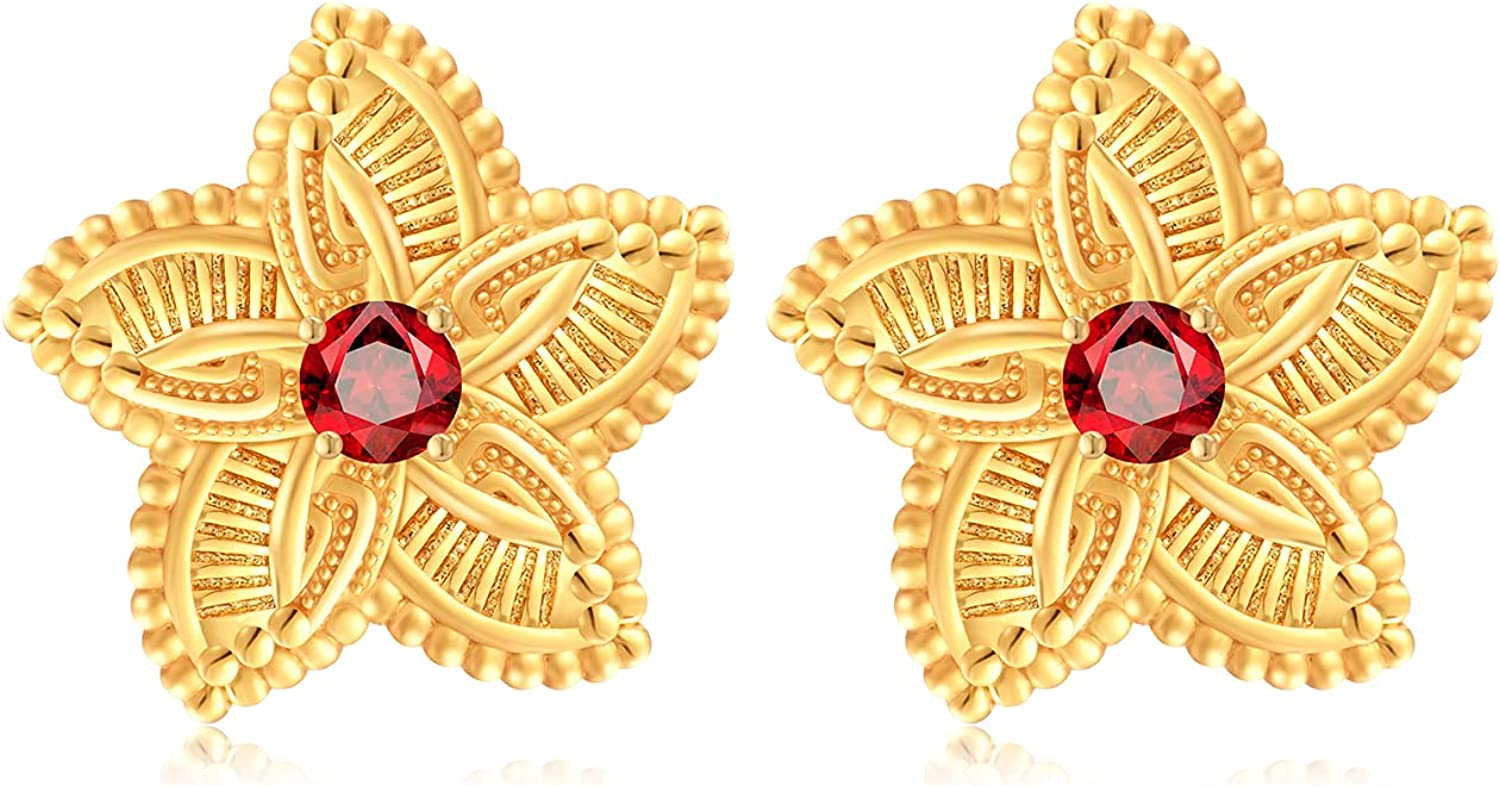 Dubai Jewelry 24K Gold Plated Big Size Clip-on Earring Studs for bride Wedding Accessories