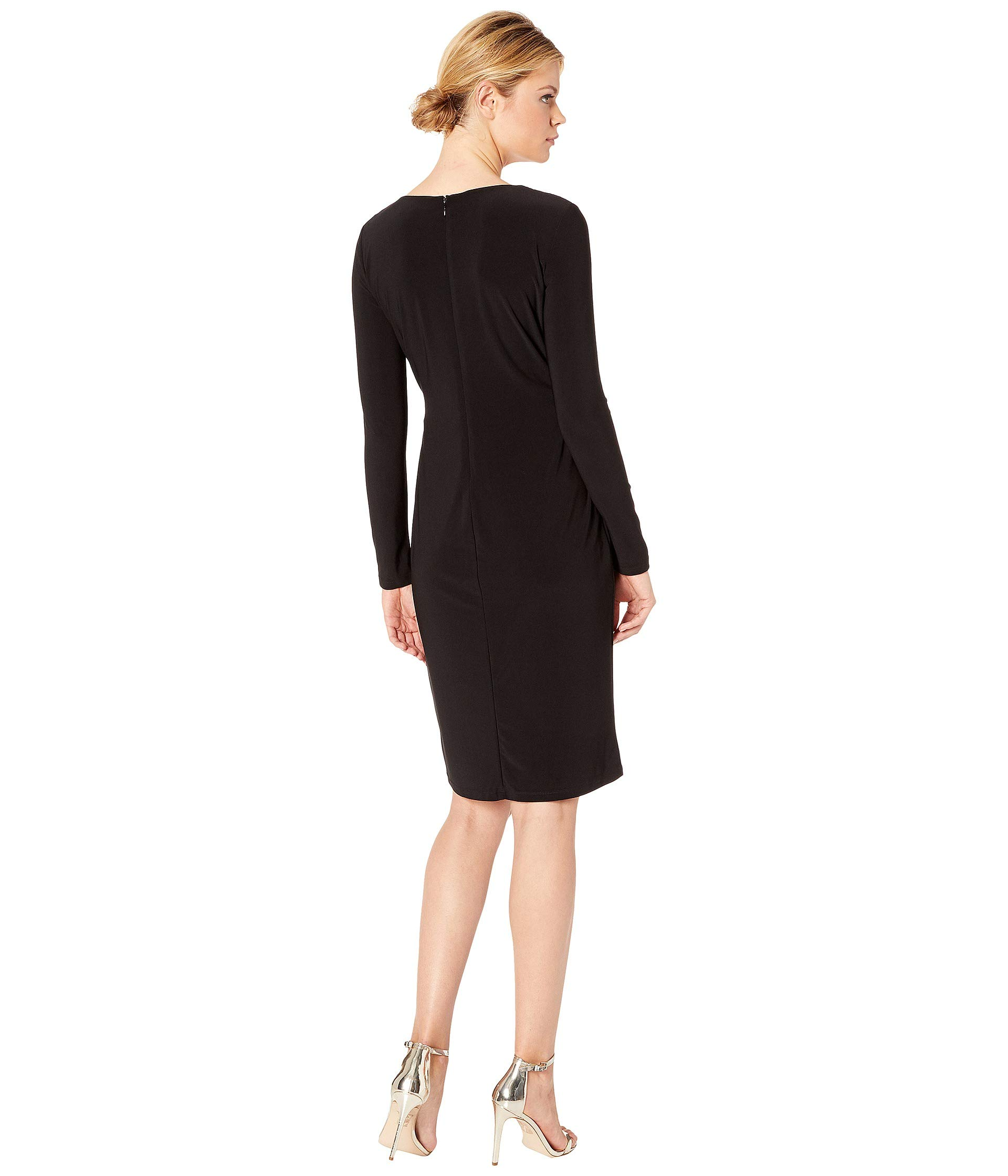 4 4r Day black Ralph Sleeve Shine 3 Dress Jodi Black Lauren Matte Jersey YHZq5