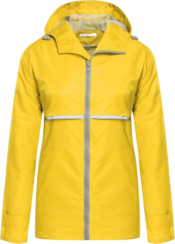 ELESOL Women Lightweight Waterproof Raincoat Outdoor Windbreaker Hooded Rain Jacket
