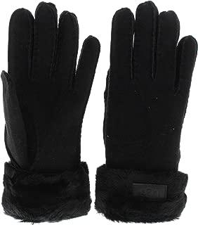 Women's Turn Cuff Water Resistant Sheepskin Gloves Black LG