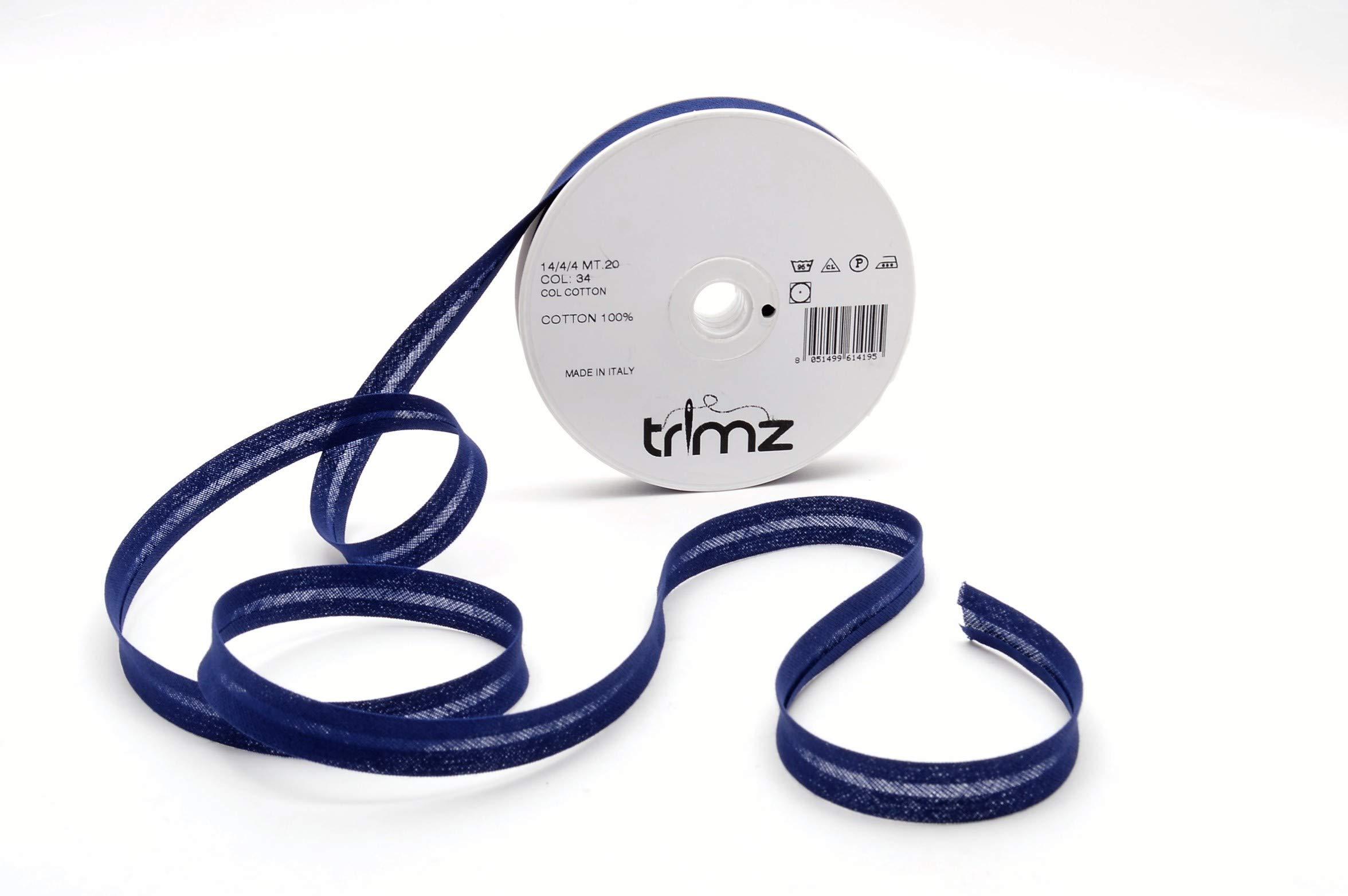 Inastri - Cinta bies de algodón, 14/4/ 4 mm, Color Azul Marino 34: Amazon.es: Hogar
