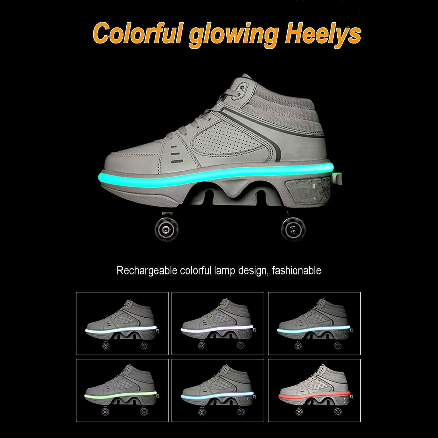 Fashiums Men Deformation Roller Skates 4 Wheel 2-in-1 Multi-Purpose Shoes Adjustable Quad Roller Skates Boots Boys Girls Universal Walking Shoes
