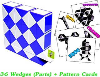 New Creative Toys Rubik Snake Twist Puzzle 36 Parts Wedges Blue and White Color with Pattern Cards Standard Size 1.3 inch for Each Part
