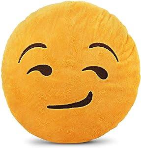 Emoji Smiley Emoticon Yellow Round Cushion Pillow - Smirking Face