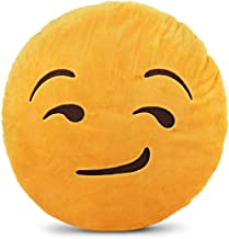 وسادة إموجي دائرية صفراء - نصف ابتسامة