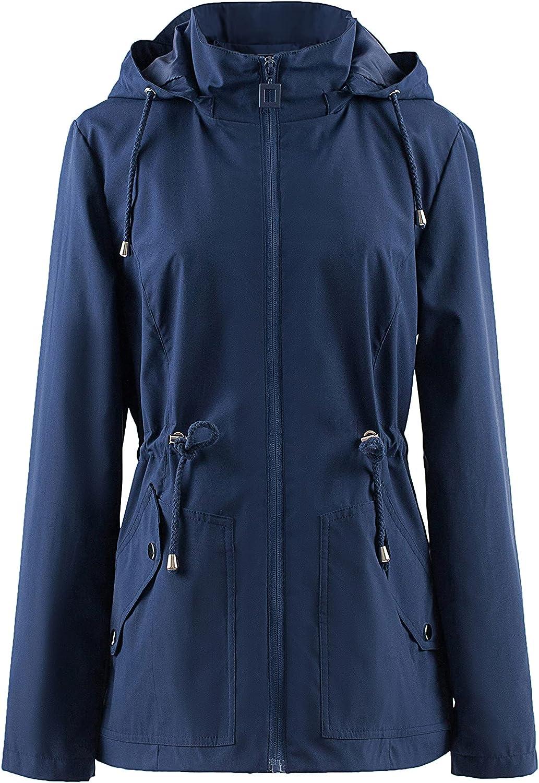Polydeer Women's Lightweight Waterproof Raincoat Breathable Windbreaker Jacket Active Outdoor Hooded Switchback Poncho