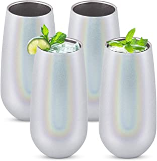 4 Pack Stemless Double Insulated Champagne Flute Tumbler with Lid, 6 Oz Unbreakable Reusable Cocktail Champagne Toasting Glasses, Great Gift for Friends Family Christmas Birthday, Glitter White