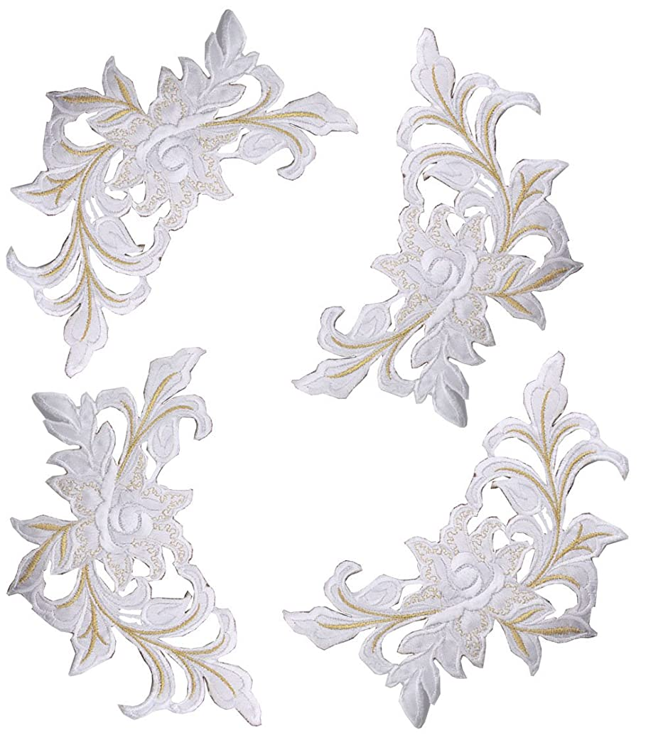 Zeng 4Pcs Embroidered Peony Flowers Patch Floral Applique Sew on Patch Badge For Lace Fabric Clothes DIY Craft Supply (white) hutfucilhp