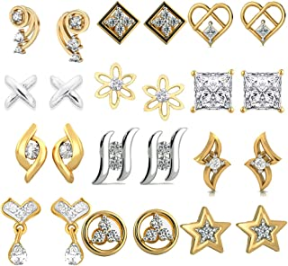Yellow Leaf Present Combo of 12 Trendy American Diamond Earrings for Women Girls at Wholesale Price Earrings Gold Plated DS-66