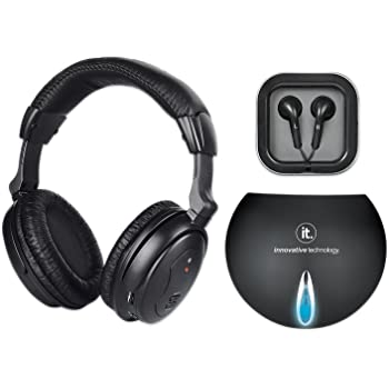Innovative Technology Wireless Headphones with Wired Transmitter, Black