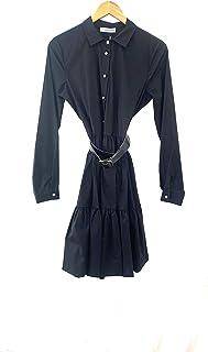 Silvian Heach PGP21337 Dress - Abito Corto Donna Cotone Modello Scamiciato Manica Lunga Balza sotto e Cintura in Ecopelle