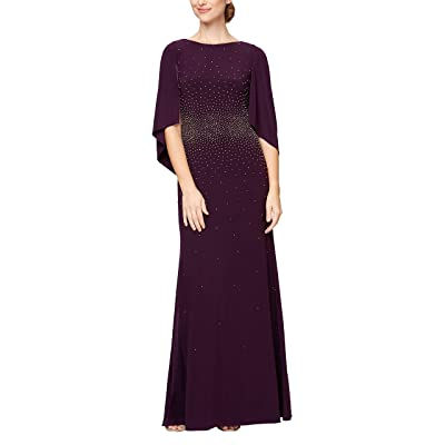 Alex Evenings Long A-line Dress With Draped Cowl Back
