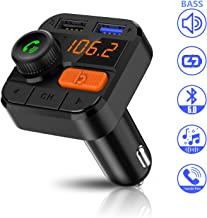 FITNATE Bluetooth FM Transmitter for Car,2019 Upgraded Version Wireless FM Radio Music Player, Super Bass, Support Hands-Free Calling,Three Playing Ways,Bluetooth5.0, Fast Charger