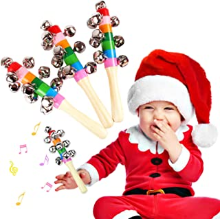 Christmas Hand Jingle Bells Wooden Handle Nickel Plated Bell Home and Holiday Decoration Musical Instrument Toy