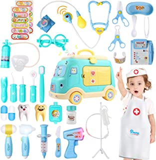 JoyGrow Toy Medical Kits,33 Pieces Kids Pretend Play Doctor with Ambulance Storage Box,Dentist Medical Role Play Education...