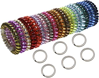 Shapenty 6 Colors Plastic Elastic Stretch Spiral Coil Wristband Bracelet with 1 Inch Metal Split Key Ring Chain for Gym Pool ID Badge Pet Luggage Tags and Outdoor Sports, Random Color, 6PCS