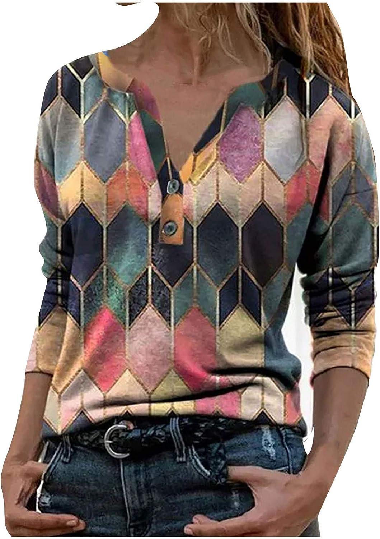AODONG Summer Tops for Women,Women Buttons Coloful Long Sleeve Trendy Blouse T-Shirt Pullover Henley Shirts