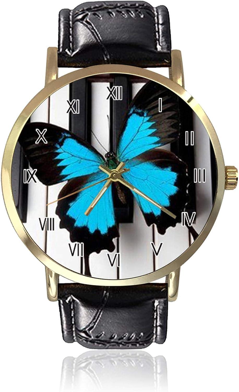 Hermoso Reloj de Pulsera para Mujer con diseño de Mariposa y Piano, Unisex, de Piel, Casual, de Cuarzo