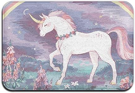 """Unicorn Horse Rainbow Custom Doormat Rug Indoor/Outdoor Door Mats Home Decor 23.6""""(L) X 15.7""""(W) Non Slip"""