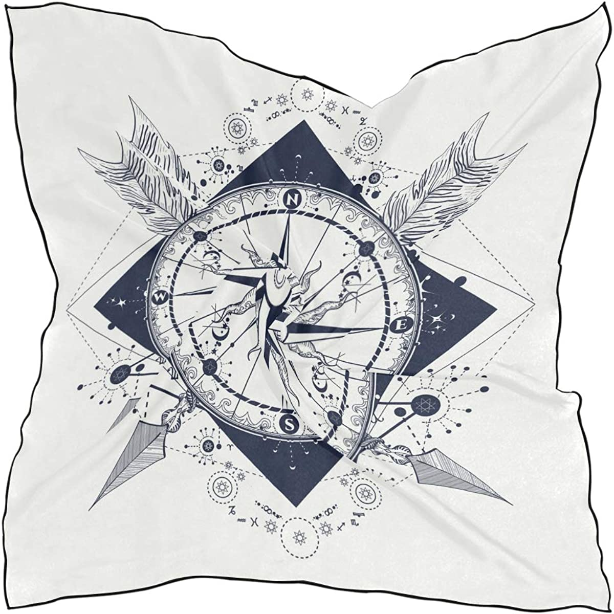 XLING Fashion Square Scarf Vintage Geometric Abstract Compass Lightweight Sunscreen Scarves Muffler Hair Wrap Headscarf Neckerchief for Women Men