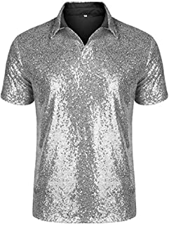 Comaba Mens Sequin Casual Party Short Sleeve T-Shirt Top Tunic Shirt Shirt