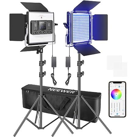 Neewer 2パック 480 RGB Ledライト APP制御 スタンドとバッグ付きの写真ビデオ照明キット 480個SMD LEDビーズ CRI 95/3200K-5600K/0-100%輝度/0-360調整可能な色/9つ該当シーン