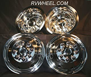 """Ford E 350/450 16"""" Hubcaps Snap on Stainless Steel 8 Lug 8 Hole Free Shipping Wheel Simulators"""