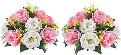 MARTINE MALL - Ramo de flores artificiales de 2 paquetes de rosas falsas, 15 cabezas de rosas de plástico para centros de mesa de boda, fiestas, día de San Valentín, decoración del hogar (rosa)
