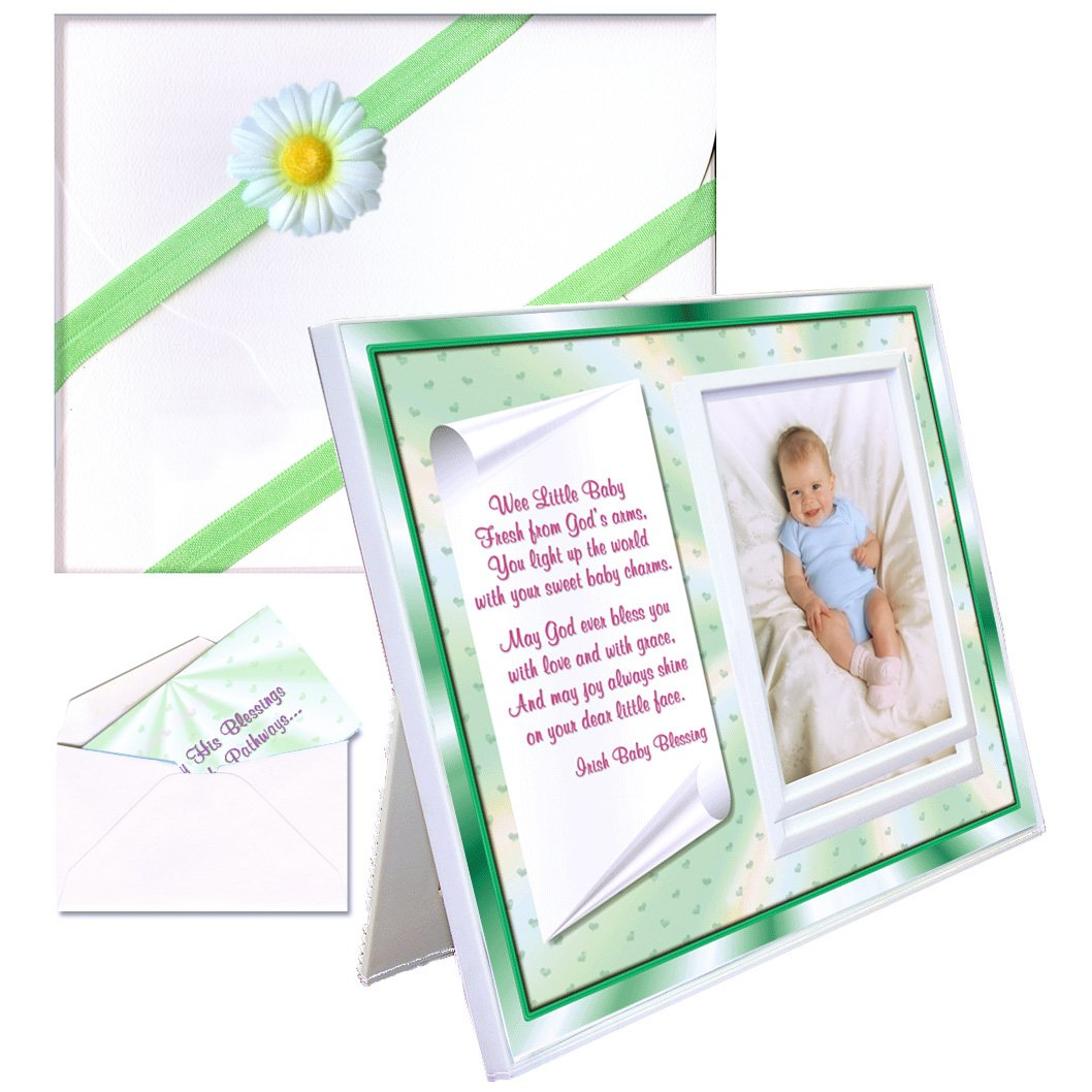 Irish Baby Blessing for Christening, Baptism Gift for Baby Boy or Girl   Cute Picture Frame   Affordable, Colorful   Holds a 3.5 x 5 Photo   Innovative Front-Load Design   Irish Baby Blessing Verse