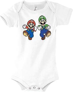 TRVPPY Baby Jungen & Mädchen Kurzarm Body Strampler Mario & Luigi