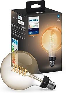 Philips Hue G125 E27 Filament Globe Smart Bulb, Warm White