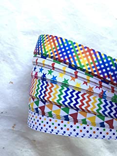 Froebel Moravian Star Strip Weaving Papers, 48 Pack, Assorted Rainbow Patterns (1 inch)