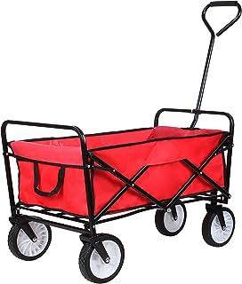 comprar comparacion HOMFA Carro Plegable de Mano Carro transporte para jardín Carro para playa Carga 80kg (Rojo)