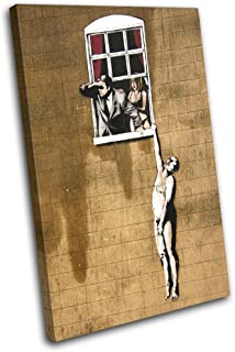 Bold Bloc Design - Window Lovers Banksy Street 135x90cm SINGLE Canvas Art Print Box Framed Picture Wall Hanging - Hand Made In The UK - Framed And Ready To Hang