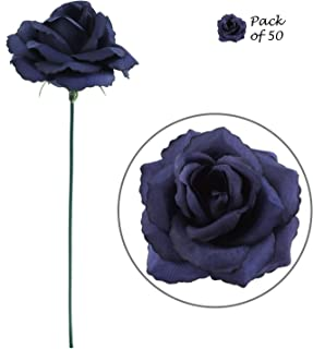 Artificial Flowers 50 Pcs Bulk Blue Fabric Silk Rose Picks with Flexible 8