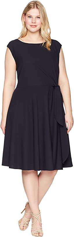 Tahari by ASL - Plus Size Crepe Side Tie Fit and Flare Dress