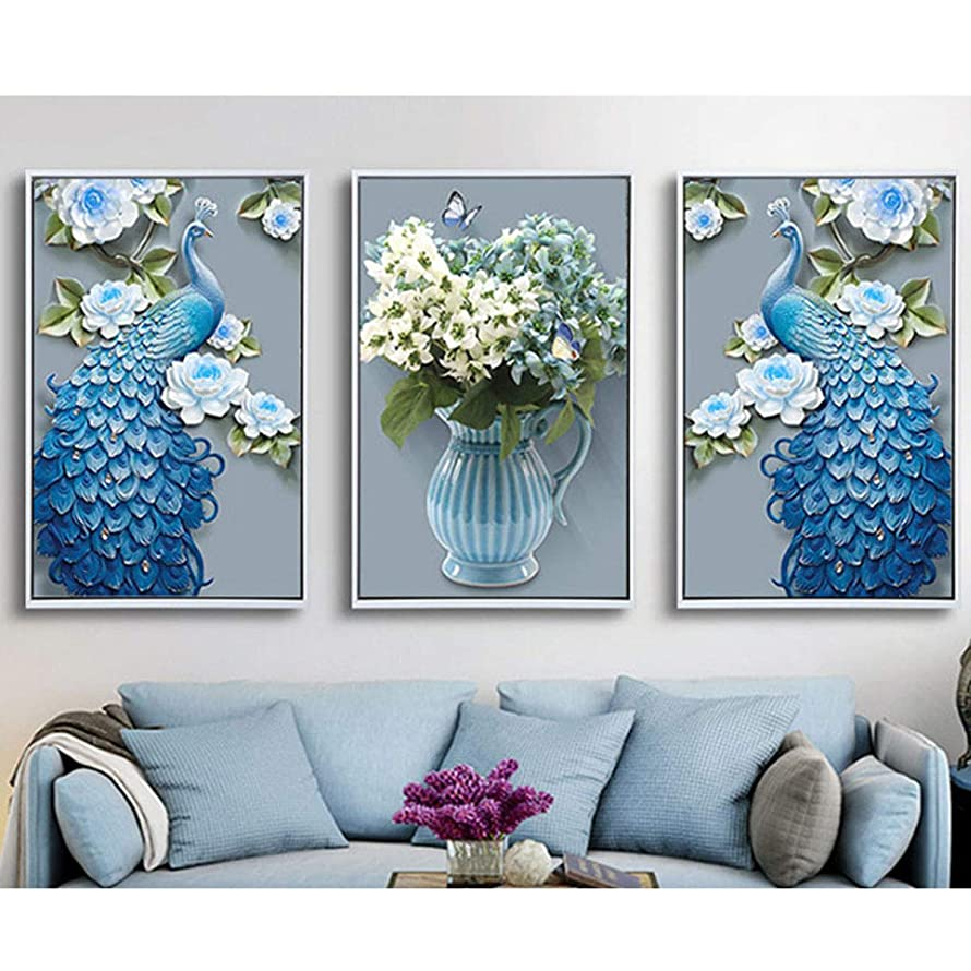 3-Piece Large Size Diamond Painting Kits for Adults 53x24''Full Drill Paint by Number Embroidery Kits Painting with Diamonds for Home Wall Decor - Peacock & Vase (135x60cm)
