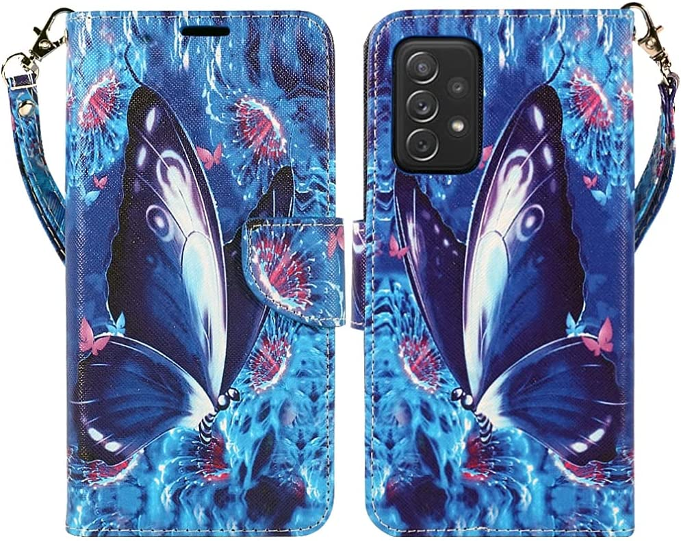 ZASE Samsung Galaxy A32 5G Wallet Phone Case for Women Pouch PU Leather Flip Folio Cute Design Cover w/Kickstand ID Card Slot Wrist Strap Compatible with Galaxy A32 5G 2021 (Blue Violet Butterfly)