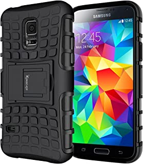 Galaxy s5 Case,Heavy Duty Rugged Dual Layer Shockproof Hybrid Armor Case for Samsung Galaxy S5 SV I9600 and NEO with Built-in Kickstand (Black)