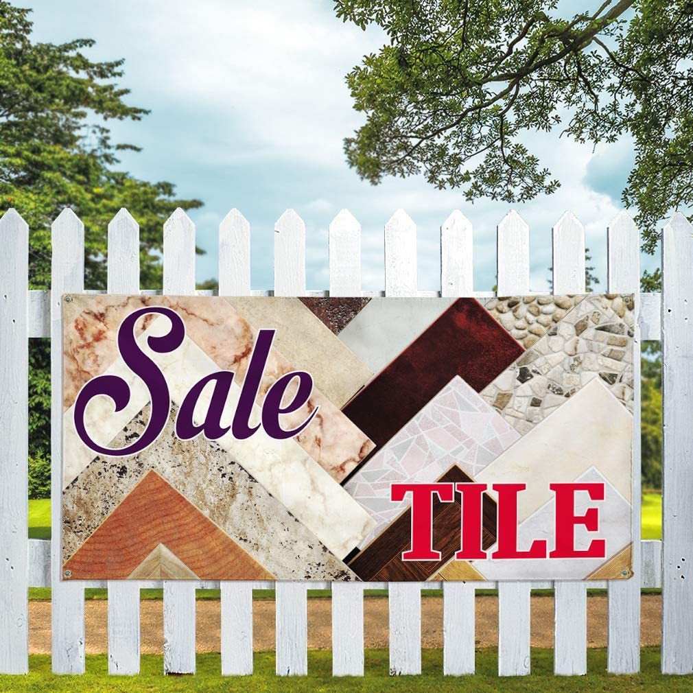 Vinyl Banner Multiple Sizes Sale Tile Outdoor Advertising Printing Business Outdoor Weatherproof Industrial Yard Signs Multi-Colored 10 Grommets 60x144Inches