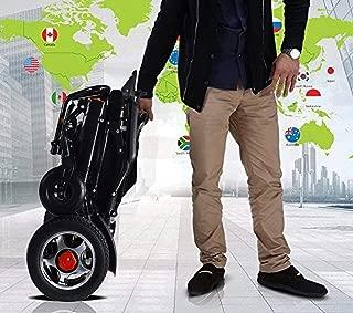 New Lightweight Electric Wheelchair Folding Remote Control Electric Wheelchair Motorized Electric Power Wheelchair, FDA Approved Power Wheelchair (Black)