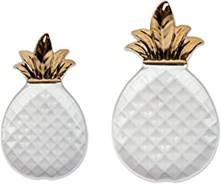 DII White and Gold Pineapple Shaped Ceramic Plates, Jewelry Ring Dish Tray Organizer, Snack Bread Sugar Dessert Serving Platter - Large and Small