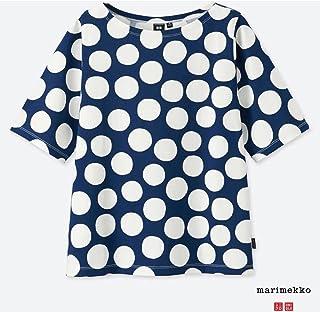 オンラインサイズ 3XL ユニクロ マリメッコ グラフィックTシャツ 白×紺ドット 水玉 ホワイト×ネイビーuniqlo marimekko