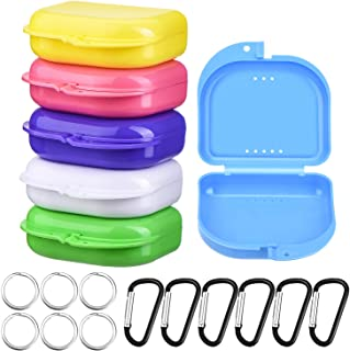 6 Pieces Retainer Cases Mouth Guard Container Case Multicolor Orthodontic Denture Storage Boxes with D-Shaped Buckles and Keychain Rings
