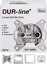 DUR-line Antennendose 3-Loch SAT   Kabelfernsehen   DVB-T   Radio   Unicable für Aufputz und Unterputz geeignet (Enddose, digitaltauglich)